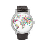 Mapa de los gatos del mapa del mundo relojes de pulsera