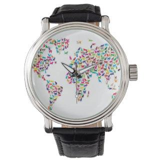Mapa de los gatos del mapa del mundo reloj de mano