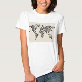 Mapa de los gatos del mapa del mundo remera