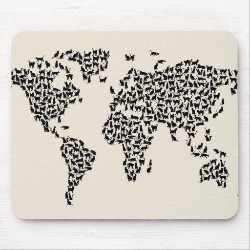 Mapa de los gatos del mapa del mundo alfombrillas de ratón