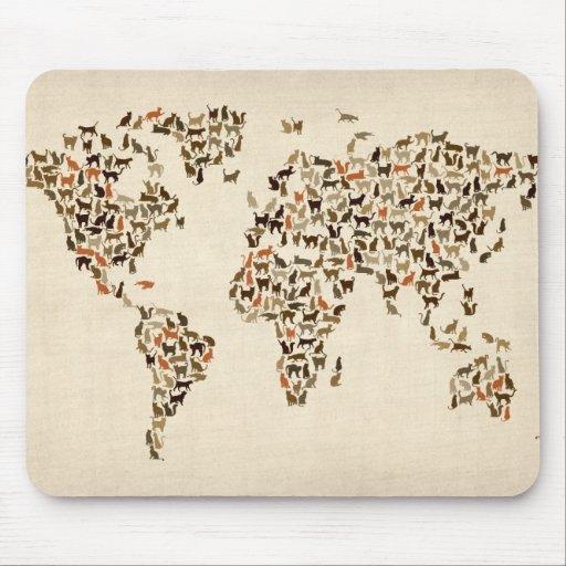 Mapa de los gatos del mapa del mundo tapete de raton