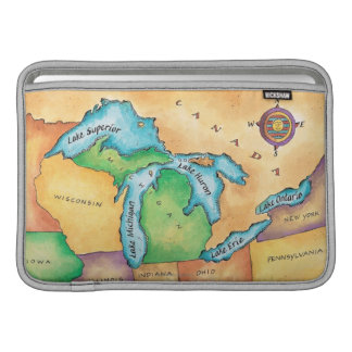 Mapa de los Great Lakes Fundas Macbook Air