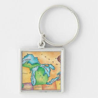 Mapa de los Great Lakes Llaveros
