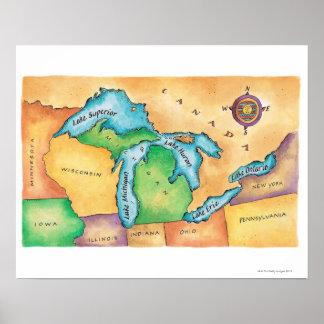 Mapa de los Great Lakes Posters