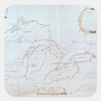 Mapa de los Great Lakes Pegatinas Cuadradases Personalizadas