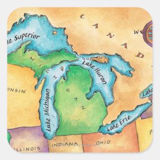 Mapa de los Great Lakes Pegatina Cuadrada