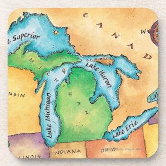 Mapa de los Great Lakes Posavasos De Bebida