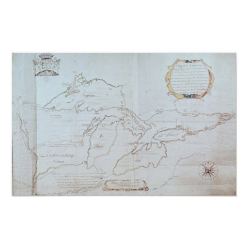 Mapa de los Great Lakes Poster