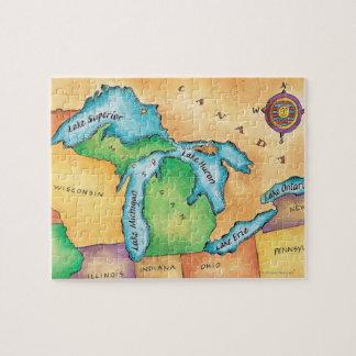Mapa de los Great Lakes Puzzle