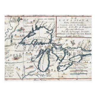 Mapa de los Great Lakes, siglo XVII del vintage Postal