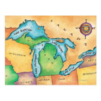 Mapa de los Great Lakes Postal