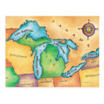 Mapa de los Great Lakes Tarjetas Postales