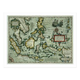 Mapa de los indies del este, pub. 1635 en tarjeta postal