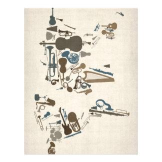 """Mapa de los instrumentos musicales del mundo folleto 8.5"""" x 11"""""""