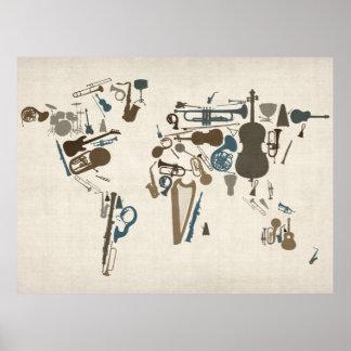 Mapa de los instrumentos musicales del mundo póster