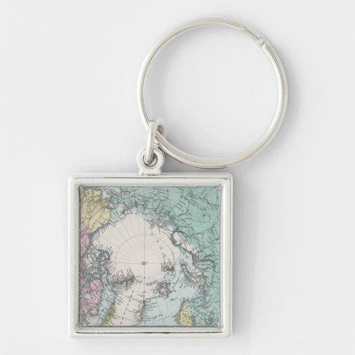 Mapa de los mares polares llavero cuadrado plateado