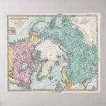 Mapa de los mares polares póster