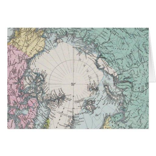 Mapa de los mares polares tarjeta de felicitación