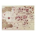 Mapa de los mundos viejos y nuevos, c.1500 postal