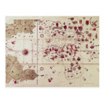 Mapa de los mundos viejos y nuevos, c.1500 tarjeta postal