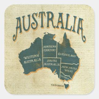 Mapa de los nombres del estado australiano pegatina cuadrada