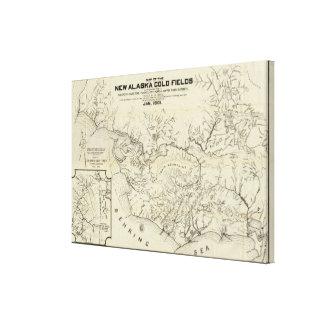 Mapa de los nuevos campos del oro de Alaska Impresiones En Lienzo Estiradas