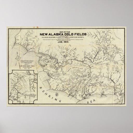Mapa de los nuevos campos del oro de Alaska Póster