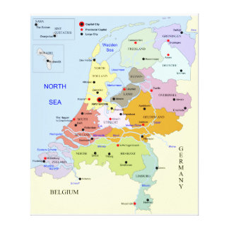 Mapa de los Países Bajos Impresiones En Lona
