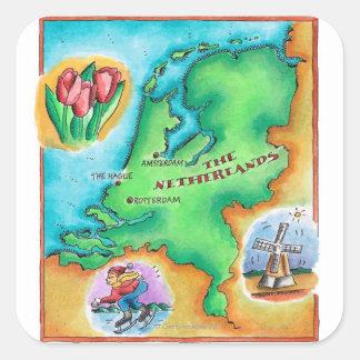 Mapa de los Países Bajos Pegatina Cuadrada