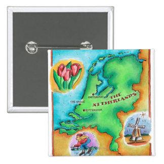Mapa de los Países Bajos Pin Cuadrado