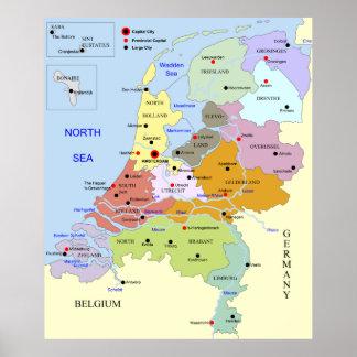 Mapa de los Países Bajos Póster