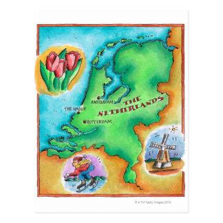 Mapa de los Países Bajos Tarjetas Postales