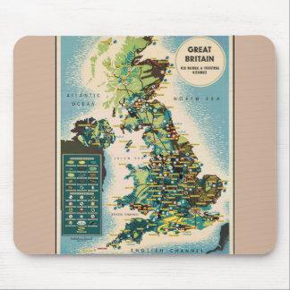 Mapa de los recursos de Gran Bretaña del vintage Alfombrilla De Raton