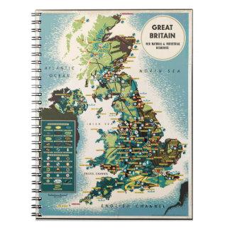 Mapa de los recursos de Gran Bretaña del vintage Libro De Apuntes