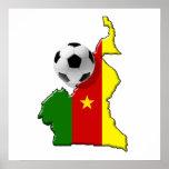 Mapa de los regalos del balón de fútbol del Camerú Posters