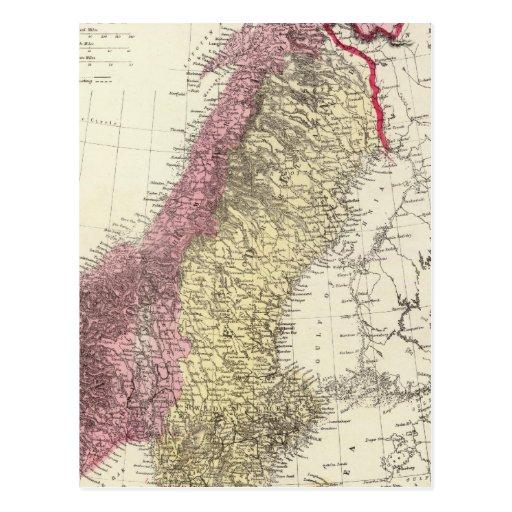 Mapa de los reinos escandinavos postal