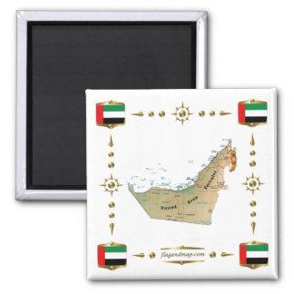 Mapa de los UAE + Imán de las banderas