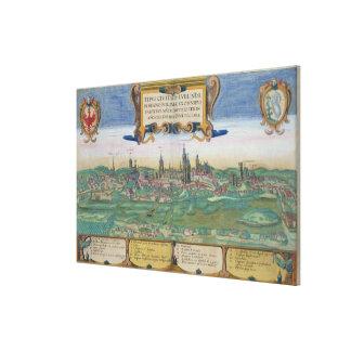"Mapa de Lublin, de ""Civitates Orbis Terrarum"" cerc Impresiones En Lona Estiradas"