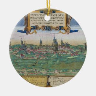 "Mapa de Lublin, de ""Civitates Orbis Terrarum"" Adorno Redondo De Cerámica"