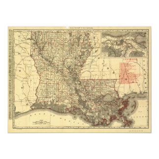 """Mapa de Luisiana (1895) Invitación 6.5"""" X 8.75"""""""