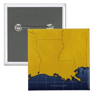 Mapa de Luisiana 2 Pin Cuadrado