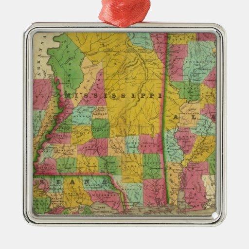 Mapa de Luisiana, de Mississippi y de Alabama Adorno