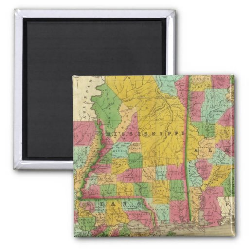 Mapa de Luisiana, de Mississippi y de Alabama Imán De Nevera