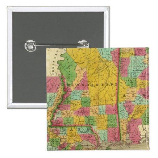 Mapa de Luisiana, de Mississippi y de Alabama Pin Cuadrada 5 Cm