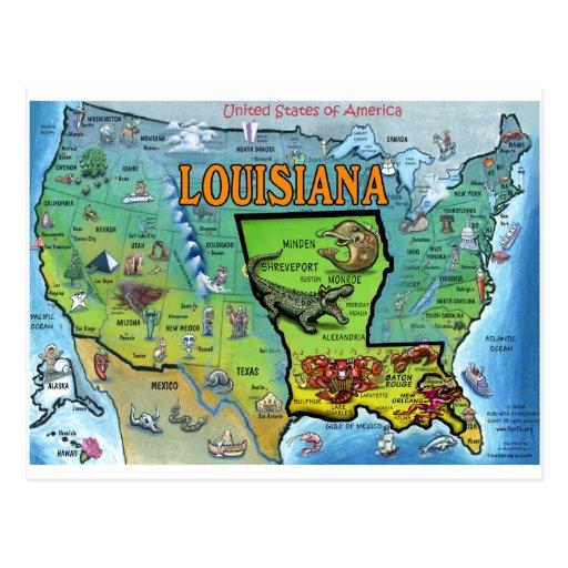 Mapa de Luisiana los E.E.U.U. Postal