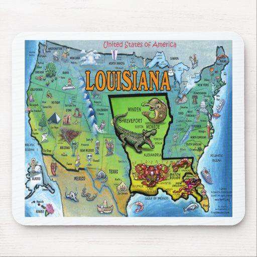 Mapa de Luisiana los E.E.U.U. Alfombrillas De Raton