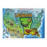 Mapa de Luisiana los E.E.U.U. Tarjeta Postal