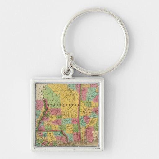 Mapa de Luisiana Mississippi y de Alabama Llavero Cuadrado Plateado