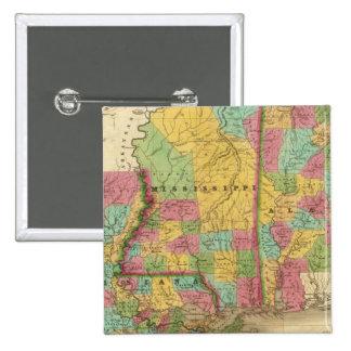 Mapa de Luisiana Mississippi y de Alabama Pin Cuadrada 5 Cm