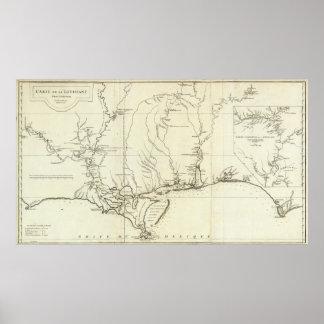 Mapa de Luisiana Póster